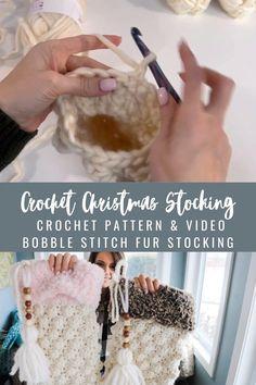 Crochet Christmas Stockings, Knitted Christmas Stocking Patterns, Crochet Stocking, Crochet Christmas Gifts, Holiday Crochet, Christmas Knitting, Crochet Gifts, Christmas Decor, Crochet Craft Fair