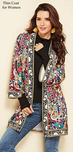 a6615f54118c 55% OFF. Floral Print Split 3 4 Sleeve Thin Coat for Women.