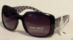 Nine West women sunglasses black rectangular