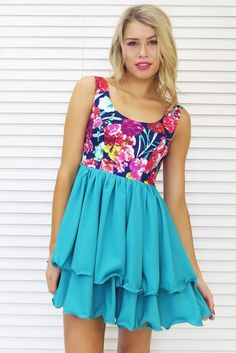 Camelia Wave Dress in Green Print