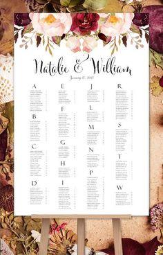 Wedding Seating Chart Burgundy, Marsala, Red, Blush Pink Romantic Blossoms