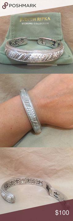 Judith Ripka Sterling Silver Diamonique Bracelet EUC sterling silver and Diamonique Judith Ripka bracelet. Size medium. Box and pouch included. Judith Ripka Jewelry Bracelets