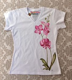 Hand-painted T-shirt/white t-shirt/Women's tees/women tee/Handpainted tee/Orchid/summer/pink flower/tops and tees/V-neck/Orchid t shirt - FABRIC PAINTING Fabric Painting On Clothes, Fabric Paint Shirt, Paint Shirts, Dress Painting, T Shirt Painting, Painted Clothes, Silk Painting, Embroidery On Clothes, Embroidery Patterns