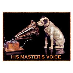 """Dollhouse Miniatures Metal Sign Advertising RCA VICTOR MASTER/'S VOICE 2 1//4/"""""""