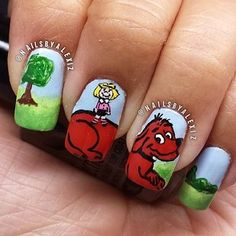 Clifford the Big Red Dog by Norman Bridwell   25 Insanely Cool Nail Art Designs Inspired By Books