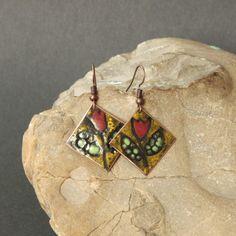 Copper Enamel Earrings by Karasisi on Etsy Copper Earrings, Drop Earrings, Jewelry Art, Unique Jewelry, Beautiful Earrings, Butter Shrimp, Garlic Butter, Etsy Seller, Artisan