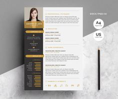 Modern Resume Template 3 Pages by WhiteGraphic Modern Resume Template, Resume Template Free, Creative Resume Templates, Print Templates, Design Templates, Creative Fonts, Templates Free, Creative Design, Cv Curriculum Vitae