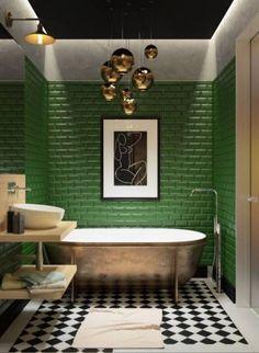 bathroom colors Kitchen Backsplash Colorful Bathroom Ideas For - Art Deco Bathroom, Bathroom Colors, Modern Bathroom, Small Bathroom, Colorful Bathroom, Bathroom Ideas, Bathroom Green, Bathroom Things, Bathroom Renovations