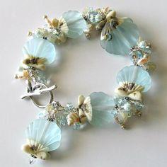 Lampwork seashell bracelet, made to order, aqua seashell lampwork beads, crystals, pearls, sterling silver