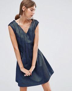 See U Soon | Короткое приталенное платье с сетчатой накладкой See U Soon