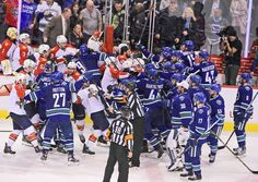 Free for all: The Florida Panthers and Vancouver Canucks benches clear and fight after overtime at Rogers Arena. The Canucks won in overtime. Nhl Season, Florida Panthers, Usa Today Sports, Vancouver Canucks, 2 In, Hockey, Cool Photos, Seasons, Benches