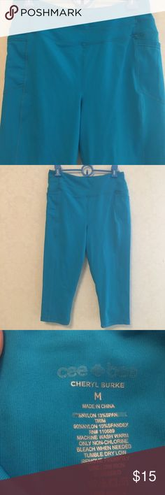 Cheryl Burke Ladies Workout Pants Very cute and comfortable Capri Workout Pants. 2 side pockets and one zipper pocket in back. Worn 2-3 times. In like new condition. cheryl burke Pants Capris