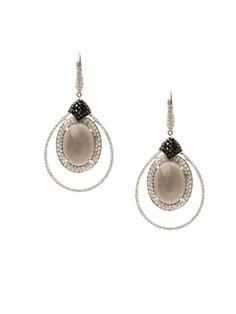 Doves Jewelry Luna Grigio Grey Moonstone Open Teardrop Earrings