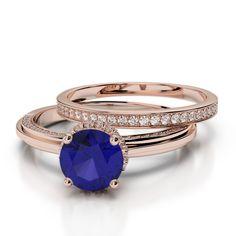 Gold / Platinum Round cut Tanzanite and Diamond Bridal Set Ring Gold Platinum, Bridal Sets, Black Diamond, Bracelet Watch, Emerald, Gold Rings, Sapphire, Wedding Rings, Rose Gold