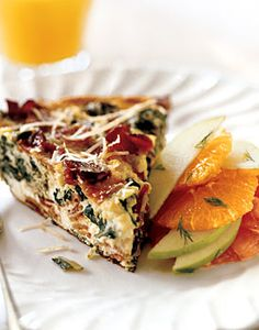 Delicious Frittata with Bacon, Fresh Ricotta, and Greens - made with fresh greens from CSA box.