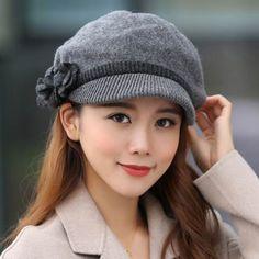Flower knit beret hat warm comfortable autumn winter hats for women 64bc87bba9