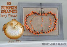 Fall Decor: DIY Pumpkin Shaped Berry Wreath | HappyClippings.com