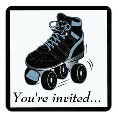 Roller Skate Birthday Invitations Boys Roller Skating Birthday Party Invitation