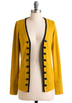 Fine and Dandelion Cardigan - Long, Yellow, Black, Solid, Buttons, Long Sleeve, Trim, Casual, Fall, Winter