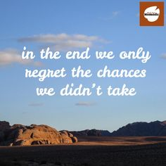 In the end we only regret the chances we didn't take. Agree? #traveltuesday