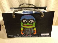 Rainbow minion shopping / tote bag made using 40 recycled plastic bags.  The ultimate in eco friendly, It saves you from getting more plastic bags and used up a huge quantity in its construction and diverts them from landfills and waterways. Each bag is strong and sturdy and built to last. Perfect for grocery shopping or a trip to the beach or pools.. perfect for picnics as any spills just wipe right off! The perfectly unique gift for anyone.  Includes Free shipping