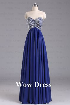 Royal Blue Evening Dress/ Long Evening Dress/ Rhinestone Sequined Sweetheart Evening Dress/ Prom Dress