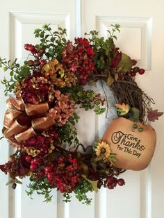 FALL WREATHFront Door WreathThanksgiving Wreath Pumpkin