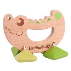 Rattle Toy Crocodile ekologisk skallra - EverEarth - Ekologiskt & Tryggt - GoodforKids