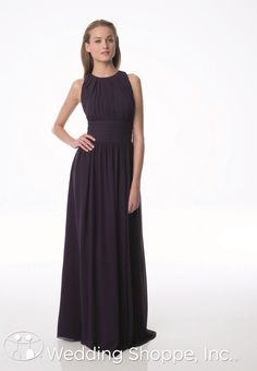 A sophisticated high neck bridesmaid dress from Bill Levkoff in plum.