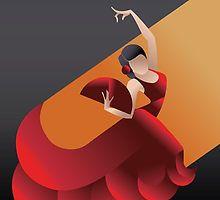 Art Deco styled Spain Flamenco dancer by JeraRS