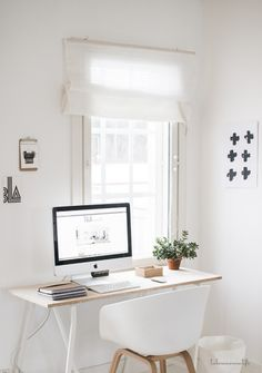 studio, home, interior, desk, window, work space, office, white, simple