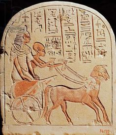 Stela depicting a scribe driving a chariot, from Tell El-Amarna, New Kingdom, c.1353-1337 BC (stone)