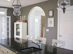 Open kitchen. Walls Ben Moore Texas Leather.