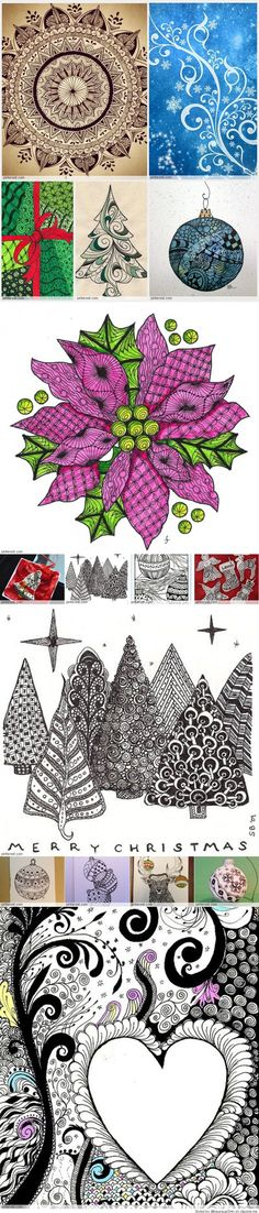He who has not Christmas in his heart will never find it under a tree. __Roy L. Tangle Doodle, Zen Doodle, Doodle Art, Christmas Stocking Fillers, Christmas Ornaments, Zentangle Patterns, Zentangles, Zen Art, Pictures To Draw