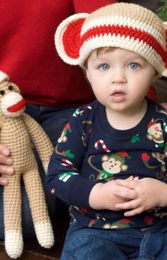 Sock Monkey and Baby Hat Crochet Pattern  http://www.redheart.com/free-patterns/sock-monkey-and-baby-hat