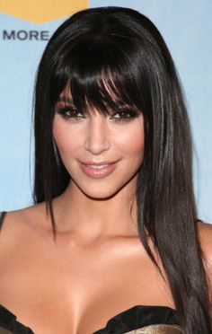 Kim K Long hair with bangs-- I need to get my bangs cut, possibly like this?