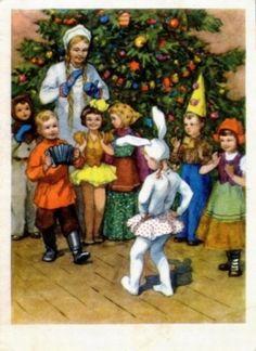 Советские новогодние открытки 50-х годов