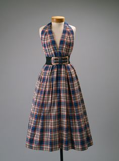 Sundress, ca. 1956  Claire McCardell (American, 1905–1958)  Red, blue, yellow, and plaid cotton