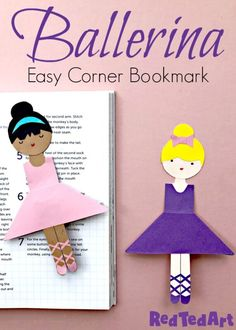 Easy Ballerina Corner Bookmark Design - our extensive Bookmark Corner collection continues with this new and easy paper ballerina bookmark design.