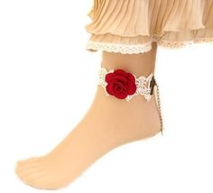 $2.54 White Vintage Lace Red Rose Flower Alloy Chain Anklet Adjustable http://www.eozy.com/white-vintage-lace-red-rose-flower-alloy-chain-anklet-adjustable.html