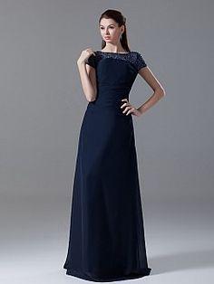 Bateau Neckline Chiffon Floor Length Mother of the Bride Dress - USD $163.79
