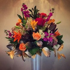 Fall Glam Table Centerpiece using Lilies, Roses, Hydrangea, Celosia...