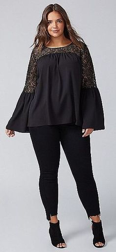 Plus Size Bell-Sleeve Top with Lace