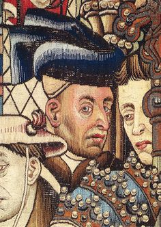 After Van der Weyden, The Justice of Trajan and Herkinbald, detail from a lost painting, tapestry copy. This head is considered a probable self-portrait.