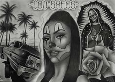 Girls With Sleeve Tattoos, Arm Tattoos For Guys, Tattoo Girls, Lower Back Tattoos, Chicano Art Tattoos, Chicano Drawings, Dope Tattoos, Angel Devil Tattoo, Angel And Devil