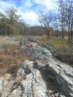 Hiking the Mina Sauk Falls Trail at Taum Sauk Mountain State Park in Missouri.