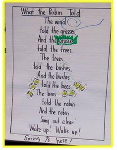 Fill in the missing words and word endings. Some of the poems made into class charts for Shared Reading Tim. April Poems, Spring Poem, Spring Art, Spring Crafts, Kindergarten Poetry, Senior Activities, Spring Activities, Exercise Activities, Poetry For Kids