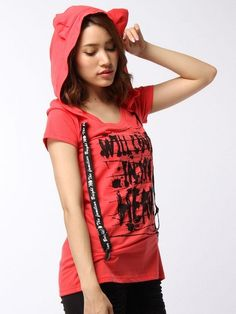 Ghost of Harlem - Cat Ear Hoody T-shirt Red - XENON Los Angeles