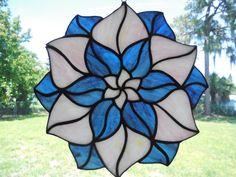 Stained Glass Flower Blue Pink Geometric Abstract Suncatcher Handmade | eBay