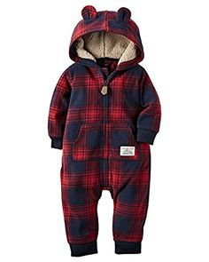 dad1123a37c Classic plaid pairs with snuggly faux-Sherpa details to create this hooded  coverall from Carter s-making it a cuddly choice for all-day-comfy style.